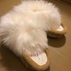 Other - Baby Girl Moccasins Authentic Rabbit Fur